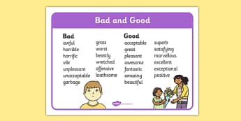 Bad and Good Word Synonyms Mat - bad, good, synonyms, word mat, word, mat
