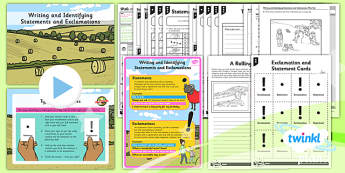 PlanIt Y2 SpaG Lesson Pack: Writing and Identifying Statements and Exclamations - GPS, grammar, sentence types, exclamation marks
