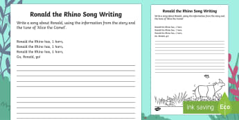 Ronald the Rhino Song Writing Activity Sheet - Ronald the Rhino, Twinkl storybook, songs, music, writing, activities, games, instruments, ead,