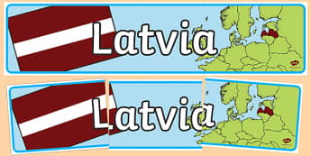 Latvia Display Banner - Latvia, display, banner, sign, poster, country, world, East, Eastern Europe