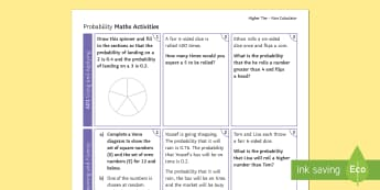 Higher: Probability (Non Calculator) Revision Activity Mat - Using and Applying, Reasoning and Fluency, Problem Solving, Secondary  Maths Exams  KS4