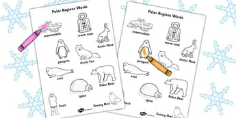 Polar Region Words Colouring Sheet - worksheets, colour, motor