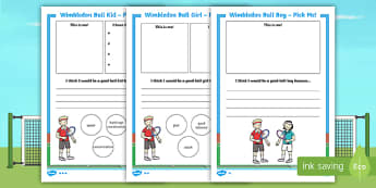 KS1 Wimbledon Ball Kid 'Pick Me' Writing Activity Sheet - tennis, sports, PE, physical education, persuasive writing