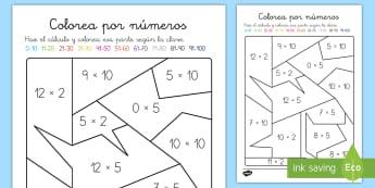 Colorear con números: Multiplicación - x2, x5, x10 - colorear, colorea, números, multiplicar, multiplicación, tablas de multiplicar, pintar, x2, x5, x1