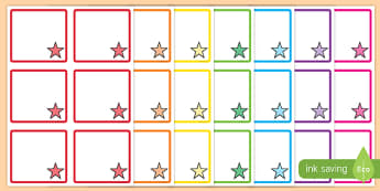 Star Themed Square Peg Labels