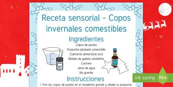 Receta sensorial comestible: Copos invernales comestibles - puré de patata, copos de patata, copos de nieve, receta, receta sensorial comestible, sensorial, se