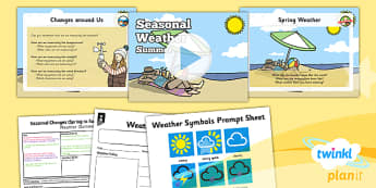 PlanIt - Science Year 1 - Seasonal Changes (Spring and Summer) Lesson 5: Seasonal Weather Summer Lesson Pack - planit