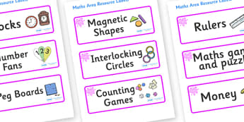 Pink Themed Editable Maths Area Resource Labels - Themed maths resource labels, maths area resources, Label template, Resource Label, Name Labels, Editable Labels, Drawer Labels, KS1 Labels, Foundation Labels, Foundation Stage Labels, Teaching Labels