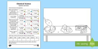 Year 1 Chemical Science Questions and Colouring Activity Sheets - ACSSU018, materials, properties of matter, heating, cooling, changing shape, worksheets, Australia