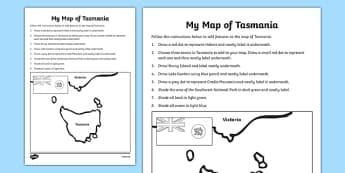 My Map of Tasmania Activity Sheet - australia, Geography, map, mapping, Tasmania, Hobart, shading, labelling, states, territories, Australia, worksheet