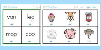 CVC Word Bingo - CVC, bingo, lotto, game, literacy, CVC words