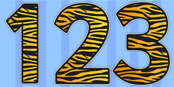 Tiger Print Display Numbers - Tiger, Print, Display, Numbers