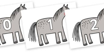 Numbers 0-50 on Horse to Support Teaching on What the Ladybird Heard - 0-50, foundation stage numeracy, Number recognition, Number flashcards, counting, number frieze, Display numbers, number posters