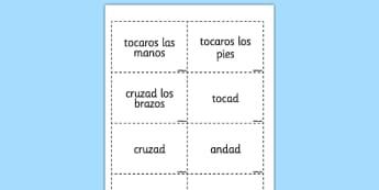 Tarjetas de vocabulario - Acciones - movimientos, instrucción, juego