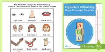 Picture Dictionary Body Parts My Picture Dictionary - Picture Dictionary Body Parts Word Cards Pack - dictionary, pack