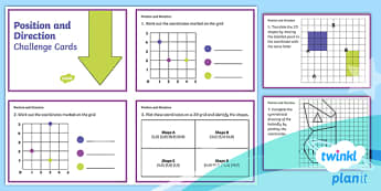 PlanIt Y4 Position and Direction Challenge Cards - Position and direction, coordinates, translations