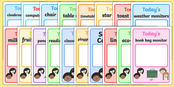 Classroom Monitor Display Signs (Daily) - Monitor, daily job signs, monitors, classroom monitors, pupil jobs, helpers, Teaching Labels