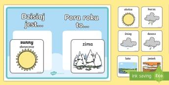 Kalendarz Pogoda i pora roku - pogoda, pora, roku, pory, zima, lato, jesień, wiosna, słońce, deszcz, prognoza, przedszkole, zer