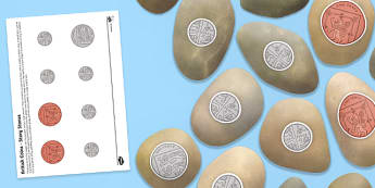 Money - British (UK) Coins Story Stones Image Cut Outs - money