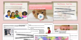 Introduction to Emotive Language Lesson Pack - introduction, emotive, language, lesson pack