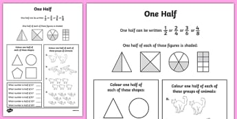 Fractions Halves Activity Sheet - numeracy, maths, half, fraction , worksheet