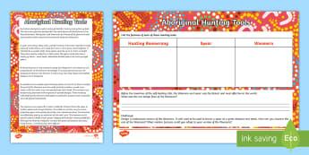 Aboriginal Hunting Tools Activity Sheets - Australia YR 3 and 4 Design Technology, woomera, hunting tools, aboriginal tools, worksheets, aborig