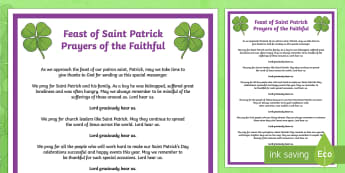 Feast of Saint Patrick Prayers of the Faithful Print-Out