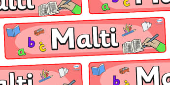 Malti Display Banner - Malti, Maltese, display, banner, poster, sign, Malta