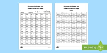 KS2 Ultimate Addition and Subtraction Challenge  - assessment, challange,sats, assesment, addition, subtraction, calculations, time trial, number bonds