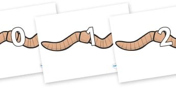 Numbers 0-100 on Worms - 0-100, foundation stage numeracy, Number recognition, Number flashcards, counting, number frieze, Display numbers, number posters