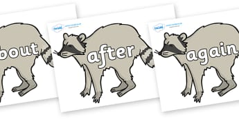 KS1 Keywords on Racoons - KS1, CLL, Communication language and literacy, Display, Key words, high frequency words, foundation stage literacy, DfES Letters and Sounds, Letters and Sounds, spelling