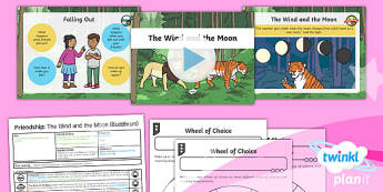 PlanIt - RE Year 1 - Friendship Lesson 3: The Wind and the Moon (Buddhism) Lesson Pack  - RE - Friendship, caring, coworking, empathy, consideration, tolerance, relationships, helping, helpf