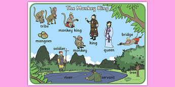 The Monkey King Buddhist Story Word Mat - buddhist, word mat