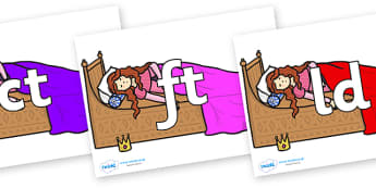 Final Letter Blends on Sleeping Beauty Bed - Final Letters, final letter, letter blend, letter blends, consonant, consonants, digraph, trigraph, literacy, alphabet, letters, foundation stage literacy