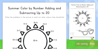 Summer Color by Number Activity Sheet - worksheet, add, subtract, addition, subtraction, maths, sunshine, picture