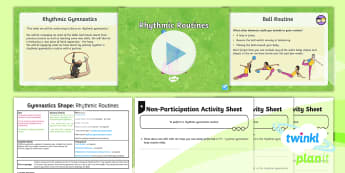 PlanIt - PE Year 3 - Gymnastics: Shape Lesson 4: Rhythmic Routines Lesson Pack - PlanIt, PE, Y3, Y4, KS2, Gymnastics, shape, rhythmic gymnastics, apparatus, routine, sequence, elemen