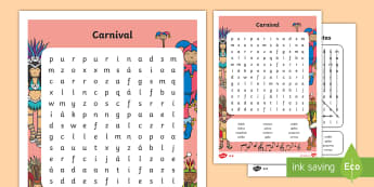 Carnival in Spain Differentiated Word Search Spanish - Carnaval España, cuaresma, decoración de la clase, decoración de carnaval, disfraz, disfrazar, ca