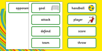 Rio 2016 Olympics Handball Word Cards - Handball, Olympics, Olympic Games, sports, Olympic, London, 2012, word card, flashcards, cards, activity, Olympic torch, events, flag, countries, medal, Olympic Rings, mascots, flame, compete