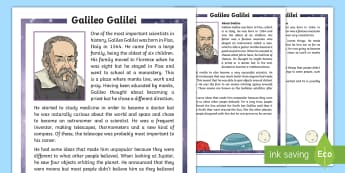 KS1 Galileo Galilei Differentiated Fact File - solar system, planets, astronomer, astronomy, Jupiter,historical, figure