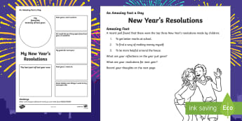 New Years Resolutions Activity Sheet - Amazing Fact Of The Day, activity sheets, powerpoint, starter, morning activity, December, new year,