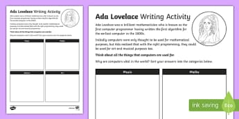 Ada Lovelace 11th October Activity Sheet