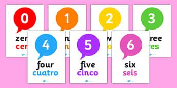 Spanish Translation Number Posters - spanish, translation, numbers, display posters, display, posters