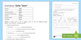 Verb Tener Activity Sheet Spanish - Spanish Grammar, verb to have, tener, activity sheet, worksheet.