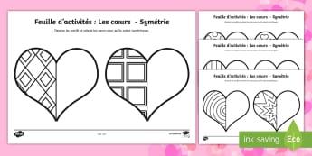 Les coeurs Symétrie Feuille d'activités - Saint-Valentin, Valentine's Day, février, February, love, amour, amoureux, cœur, shapes, formes,