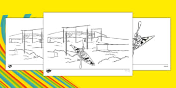 Rio 2016 Olympics Canoeing Colouring Sheets - Canoeing, Olympics, Olympic Games, sports, Olympic, London, 2012, colouring, fine motor skills, poster, worksheet, vines, A4, display, activity, Olympic torch, events, flag, countries, medal, Olympic Ring