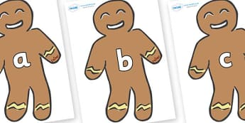 Phase 2 Phonemes on Gingerbread Men - Phonemes, phoneme, Phase 2, Phase two, Foundation, Literacy, Letters and Sounds, DfES, display