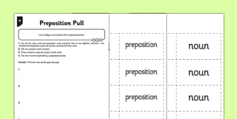 Preposition Pull Differentiated Activity Sheet Pack - GPS, spelling, punctuation, grammar, noun phrases, modifying, worksheet