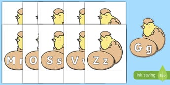 A-Z Alphabet on Hatching Chicks - A-Z, A4, display, Alphabet frieze, Display letters, Letter posters, A-Z letters, Alphabet flashcards
