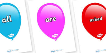 Tricky Words on Balloons (Multicolour) - Tricky words, DfES Letters and Sounds, Letters and sounds, display, words