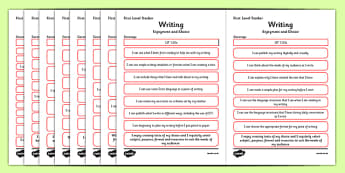 CfE Child Friendly Tracking First Level Writing - Literacy, Language, English, I Can, Tracking, Visual Pathway